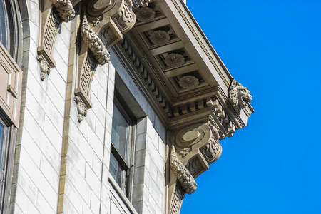 details of an old building on blue sky Stock Photo