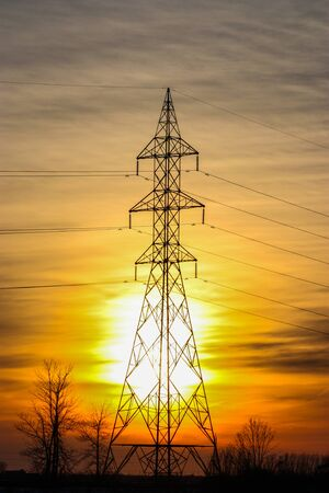 electric pole in the sunset