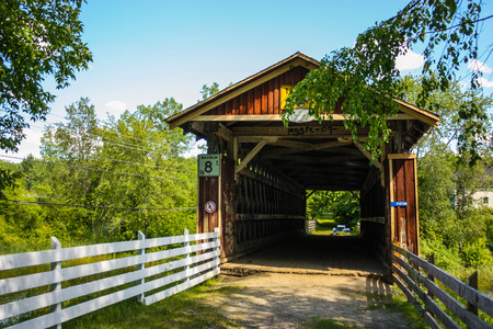 old wooden covered bridge Stock Photo