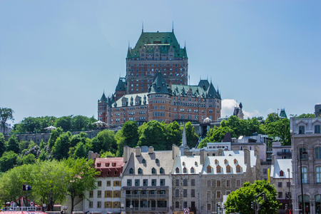 QUEBEC CANADA 05 24 10: The Chateau Frontenac was designed by American architect Bruce Price, as one of a series of château style hotels built for the Canadian Pacific Railway company.