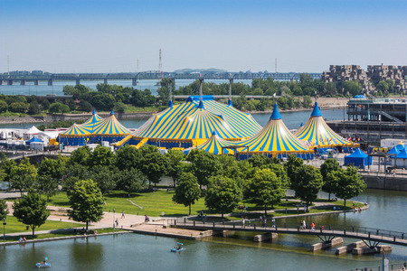 old montreal with cirque du soleil stripe tents Stock Photo