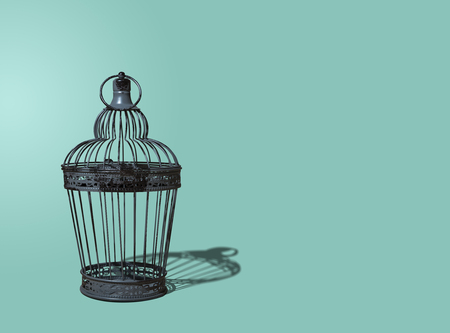 Metal ornate old-style cage. A decorative, nice metal cage is arranged on a blue, turquoise pastel background. The concept of decoupage, interior design. Minimalism and the concept of abstraction.