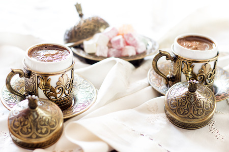 turkish coffee: Turkish coffee with delight and traditional copper serving set