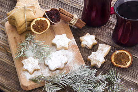 christmas tea: Christmas background with Christmas gingerbread cookies on wooden Stock Photo
