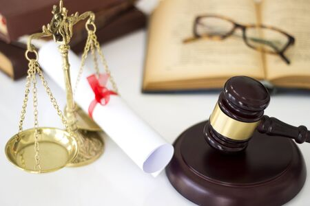judicature: Law concept, gavel, scale, books and diplomas