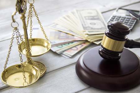 attorney scale: Labor law concept, scale, gavel, money and calculator