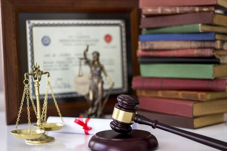 Law concept, statue, gavel, scale, books and Degree