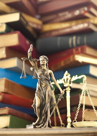 judicature: Law concept, statue and books