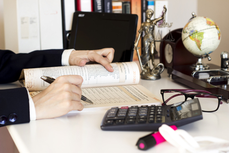 Law and business concept. Businesswoman working in the office Stock Photo