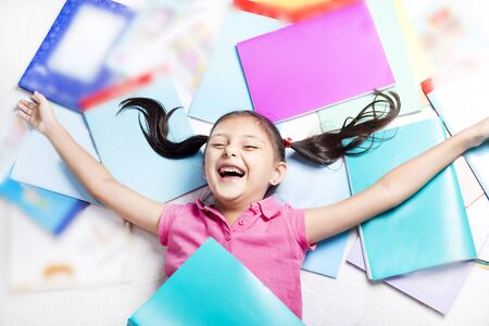 education: Back to school concept, happy school girl, kids learning and education