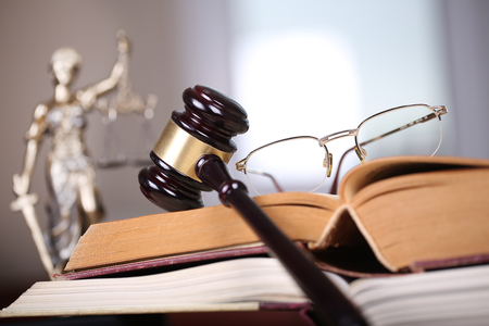 Law concept, sculpture and gavel