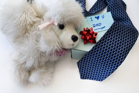 Father's Day Concept. Toy dog with greeting card, tie and gift box on a white background. Copy space for text. Father's Daughter. Banque d'images
