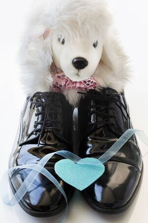 Father's Day Concept. Toy dog with greeting card and black patent leather shoes on a white background. Copy space for text. Father's Daughter.