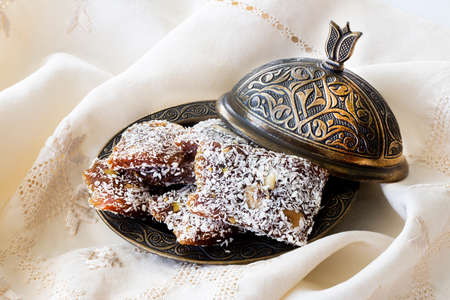 Traditional turkish dessert cezerye and copper serving set.