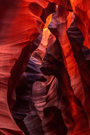 The interior of the narrow walls of the winding Antelope Canyon in Navajo Tribal Park, near Page Arizona. Banco de Imagens