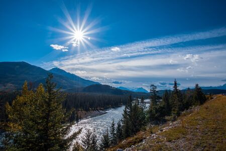 Scenic view from Mount Revelstoke of rocky mountains in British Columbia, Canada