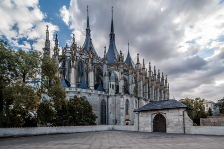 Saint Barbara roman catholic church in town Kutna Hora, Czech republic 스톡 콘텐츠 - 129452429