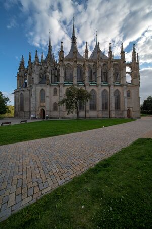 Saint Barbara roman catholic church in town Kutna Hora, Czech republic 免版税图像