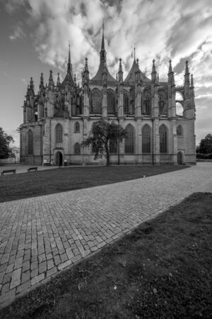 Saint Barbara roman catholic church in town Kutna Hora, Czech republic 스톡 콘텐츠 - 129452423