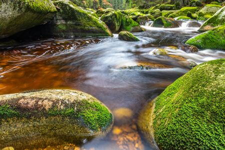 river Vydra in Sumava mountains czech republic. Banco de Imagens
