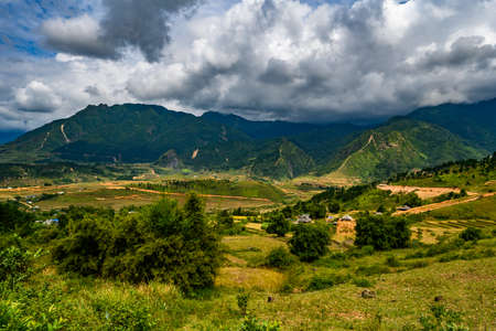 Mountain road in beautiful valley. Ha Giang province. Vietnam