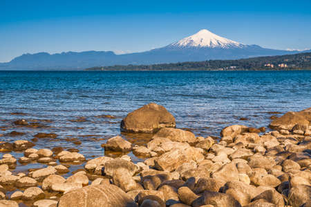 volcano osorno viewpoints blue water cabulco villarica chile volcan thaw river snow on top chile puerto varas puerto mont pucon villarica osorno blue water blue sky sunset