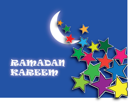 the holy month of Ramadan with the moon and stars Illustration