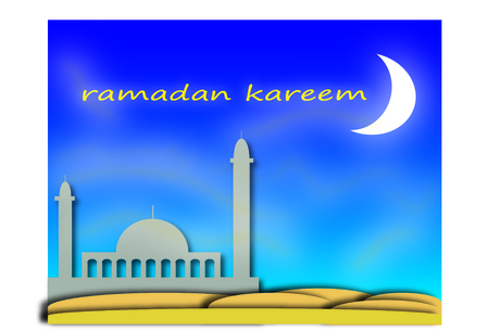 holy ramadan month with a mosque in the desert