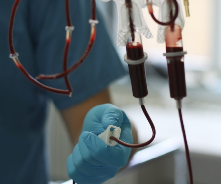 a bag of transfusion blood