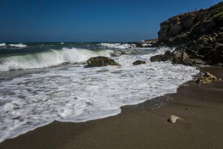 rocks on the coast of crete Stock Photo