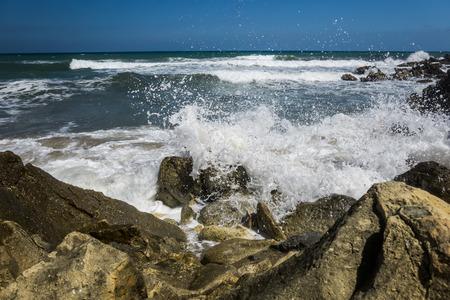 rocks on a coast of crete Stock Photo