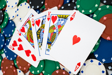 combination: Pokerchips with cards