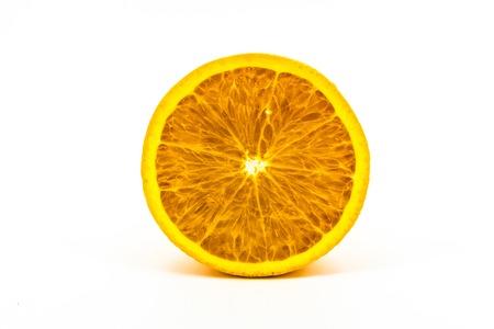 round: fresh colorful orange isolated on white screen