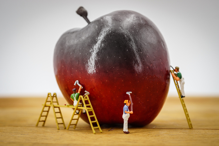 Red apple pained by painters miniature people Stock Photo