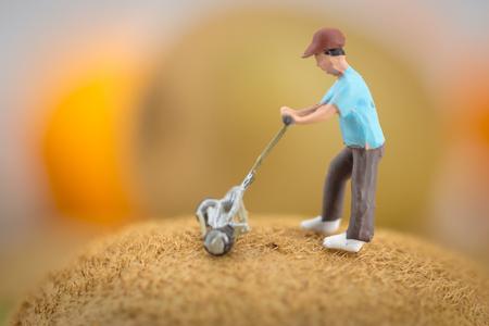 Close up figure Miniature people farmer working on a kiwi Zdjęcie Seryjne