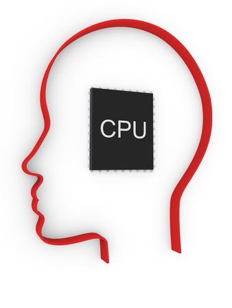 cpu in human head Stock Photo