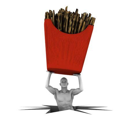 frites: 3d man lifting pomes frites