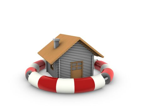 home and lifebuoy Stock Photo