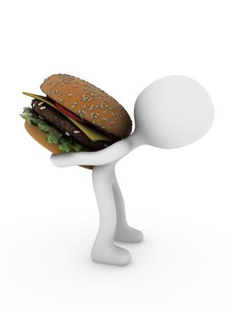 3d person carry hamburger Stock Photo - 11778873