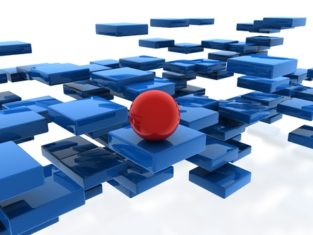 red sphere on cubes Stock Photo