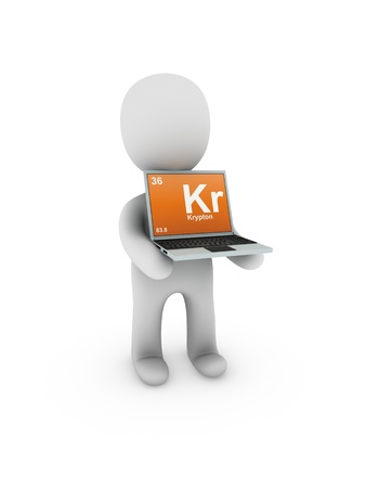 krypton: krypton  symbol on screen laptop Stock Photo
