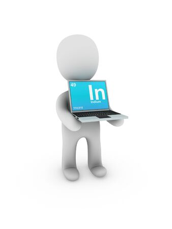 indium: indium symbol on screen laptop Stock Photo