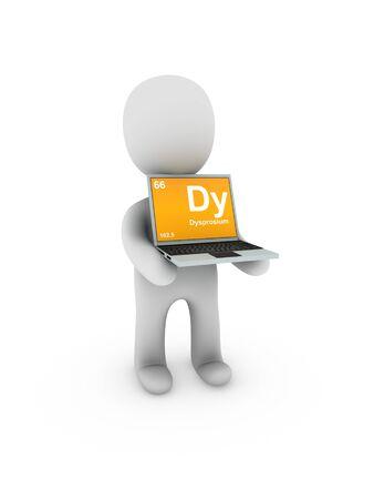 dysprosium symbol on screen laptop