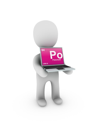 polonium: polonium symbol on screen laptop Stock Photo