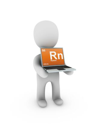 radon: radon symbol on screen laptop Stock Photo