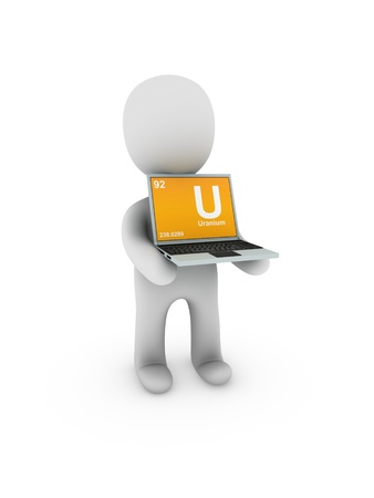 uranium: uranium symbol on screen laptop