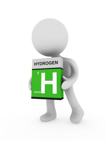 hydrogen: 3d hombre llevar a una caja de hidr�geno Foto de archivo