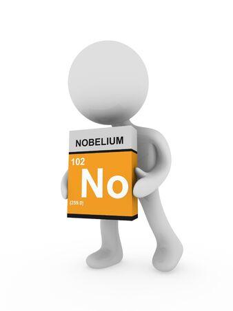boron: 3d man carry a nobelium box Stock Photo