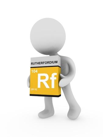 rf: 3d man carry a rutherfordium box Stock Photo