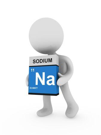 si�o: 3d man carry a sodium box